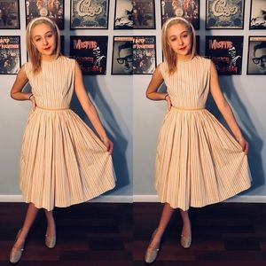 Vintage 1950's Striped Cotton Day Dress SM